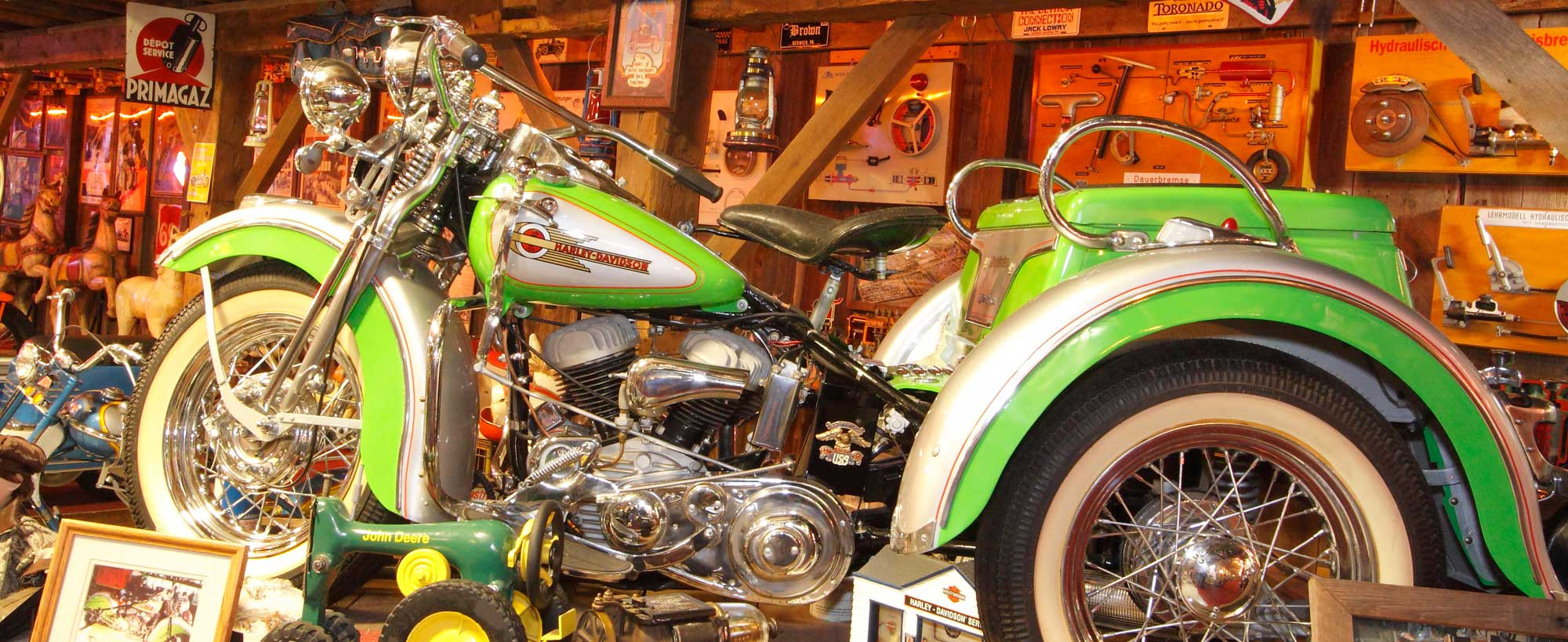 Vintage motorcycles galore inside Bill's Old Bike Barn